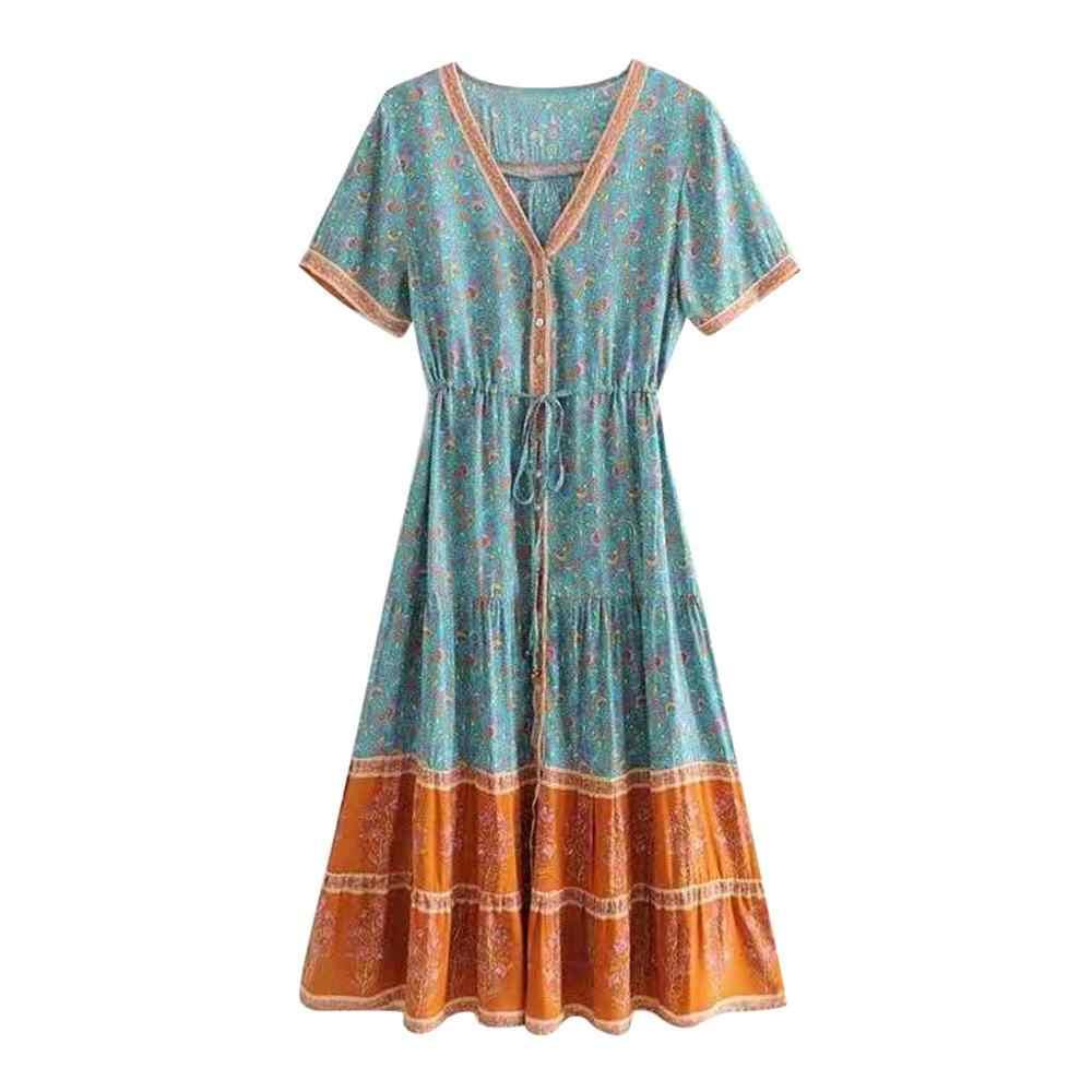 997c3d0ed2 ... Casual Summer Chiffon Dress Women Clothes 2019 Sexy Floral Women  Holiday Gonna lunga Boho Long Maxi ...