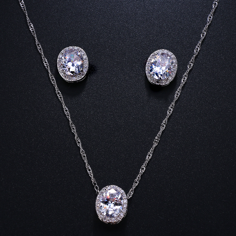 Emmaya Oval Cubic Zirconia Wedding Jewelry Sets inlay Luxury Crystal Bridal Jewelry Set Gifts For Bridesmaids Party