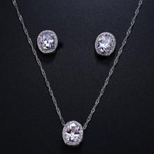 Emmaya owalne cyrkonia zestawy biżuterii ślubnej wkładka luksusowy kryształ zestaw biżuterii ślubnej prezenty dla druhen Party tanie tanio Moda Miedzi Zestawy biżuterii dla nowożeńców TRENDY Kobiety Rocznica 1 Pair Earring + 1 Piece Necklace Geometryczne