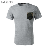 Fashion Heavy T Shirt Men American Casual Short Sleeve T Shirts With Camouflage Pocket Casual Hip