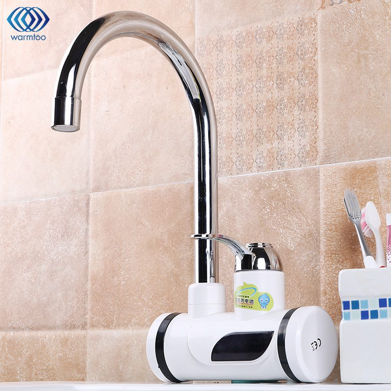 220V 3000W 360 Rotatable Electric Kitchen Water Heater Tap Instant Hot Water Faucet Cold Heating Digital Display Bathroom Tap
