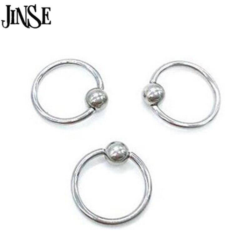 JINSE 5 pièces acier chirurgical anneau cerceau Piercing balle fermeture pour lèvre oreille nez sourcil mamelon or Rose balle corps bijoux BDJ030