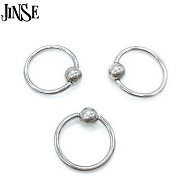 Jinse 5pcs Surgical Steel Hoop Ring Piercing Ball Closure For Lip Ear Nose Eyebrow Golden