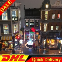 With LED light Legogo 15019 4002Pcs Assembly 10255 Square Creator City Series Model Building Brick lepinings Toys