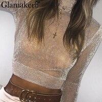 Glamaker Transparent Bright Silk Crop Top Women Sexy Mesh Summer Blouse Shirt Female Party Club Slim