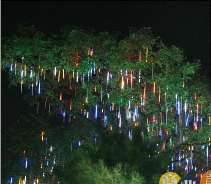 Выдалбливают Стиль 30 см Рождество декоративный свет строка Метеоритный Дождь светодиодные лампы 100-240 В ЕС США Plug сад X 2 шт. ...
