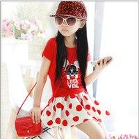 Summer Girls Clothing Set Cartoon Mickey Dot T Shirt Skirt 2Pcs Set Suits Cotton Kids