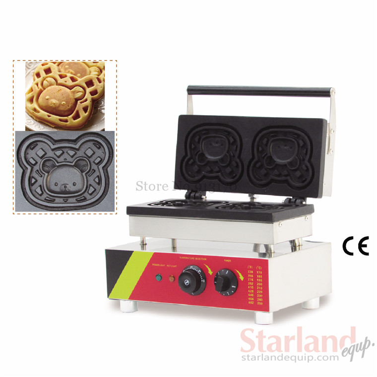 Commercial non-stick carton bear waffle baker stainless steel  waffle machine unique design with 2 pcs  molds 220v 110v commercial non stick carton bear waffle baker stainless steel waffle machine unique design with 2 pcs molds 220v 110v