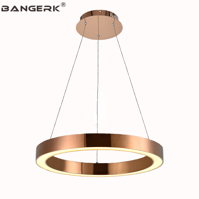 Simple Gold Modern LED Pendant Light Fixtures Ring Acrylic Droplight Stainless steel Dining Room Hanging Lamp Pendant Lighting