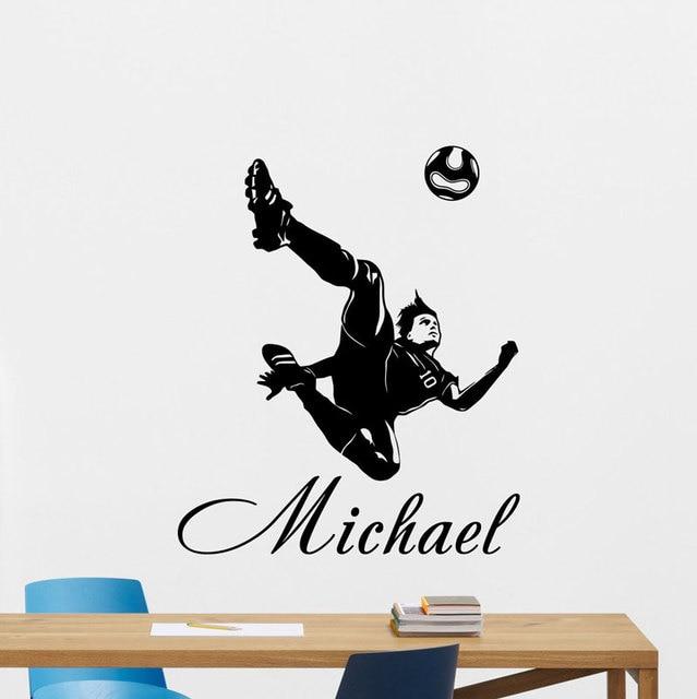 Customizable custom name football player vinyl wall applique boy child teen room home decor wallpaper art mural DZ37