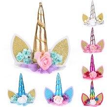 1 Pcs Christmas Tiara Glitter Metallic Rainbow Bowknot Unicorn Horn With Flowers Hair Hoop Party For Kids Cat Ear Headband