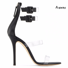 Aiyoway Fashion Women Shoes Peep Toe High Heels Sandals PVC Straps Ankle Buckle Ladies Spring Summer Party Dress Shoes 2018 spring ankle wrap buckle women sandals female flock open toe party dress shoes ladies fashion square high heels ch b0085