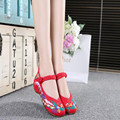 summer phoenix rhyme  Embroidery Women Shoes Old Peking Mary Jane Flat Heel Denim Flats with Soft Sole Women Dance Casual Shoes