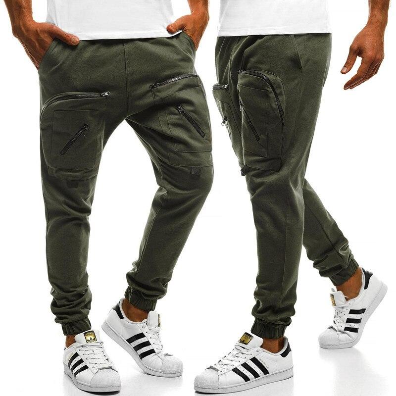 100% Wahr 2019 Jogginghose Männer Große Taschen Einfarbig Zipper Jogging Männer Casual Sport Hosen Tasche Zipper Nähte Herren Hosen Eine GroßE Auswahl An Modellen