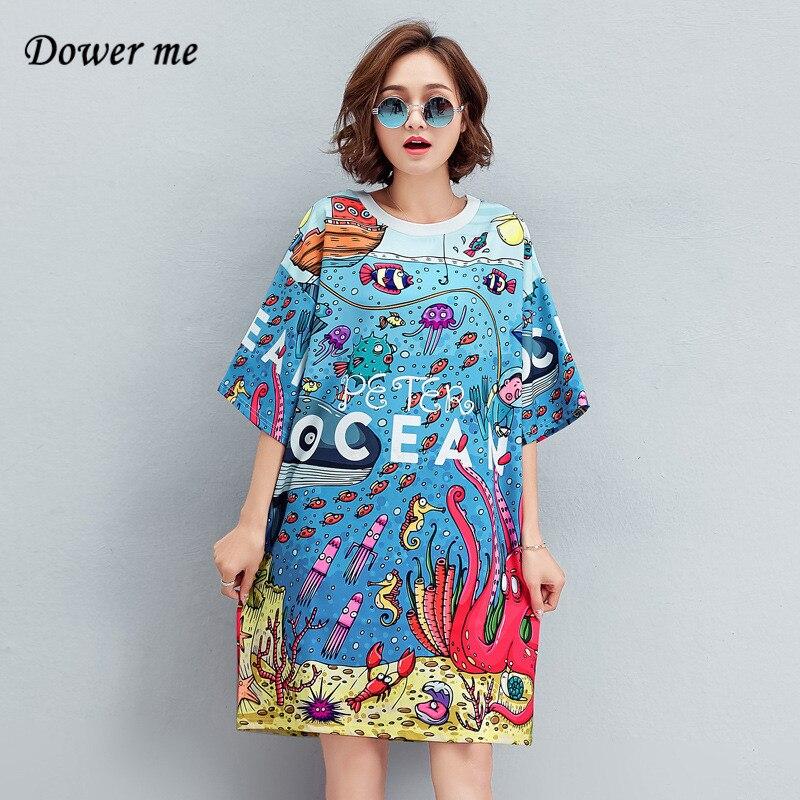 Летняя мода океан печати женское платье vestidos простая футболка с круглым вырезом женские платья Женский Свободные платья YY080