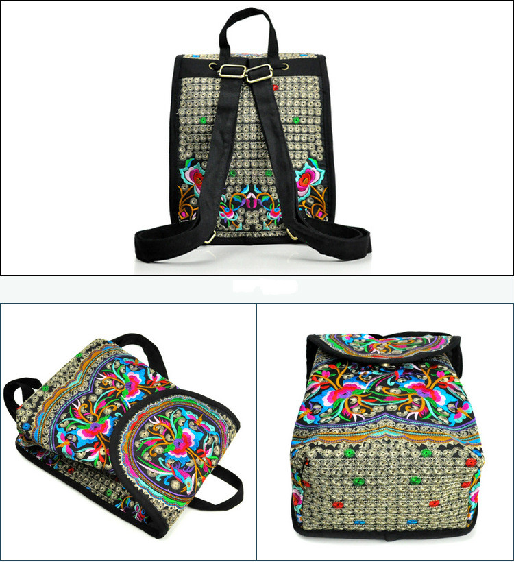 Chinese Ethnic Style Embroidery Backpack Woman Embroidery Bags Embroidered Peony Female Cover String Canvas New