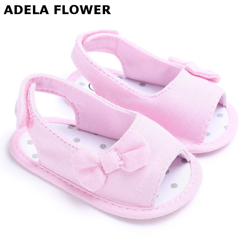 Newborn Baby Girls Summer Sandal Bowknot Soft Sole Crib Shoes Princess Shoes Pink Denim  ...