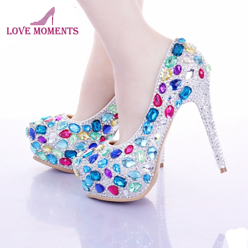 Multi Crystal Bridal Sheos Luxury Rhinestone Wedding Bride Shoes Evening Party Prom Shoes Custom Made Valentine High Heels hand made luxurious bowtie pink crystal wedding shoes jeweled rhinestone flowers sexy women high heels bridals evening shoes