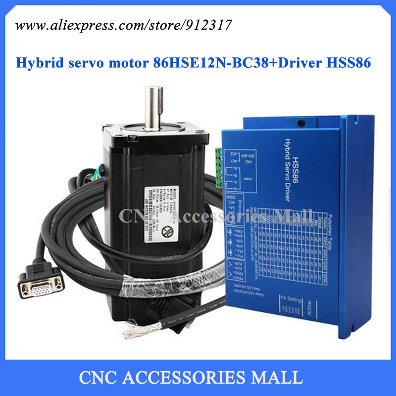 Nema34 Full Closed Loop High Speed Stepping Motor Kit 12Nm Stepper Motor + Driver Hybrid Servo Set 2 phase 8 5n m closed loop stepper servo motor driver kit 86j18118ec 1000 2hss86h cnc machine motor driver