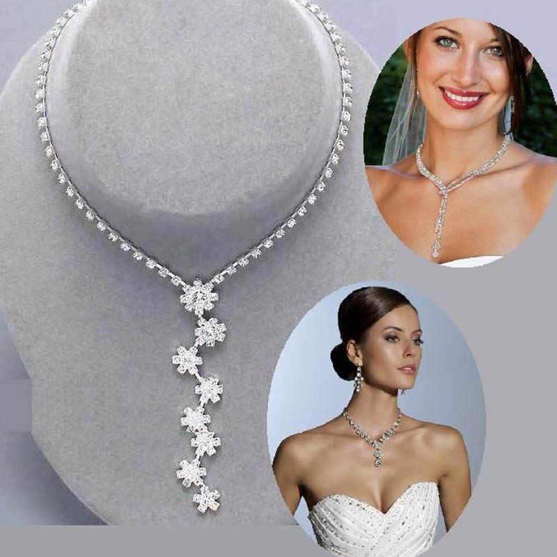 BLIJERY de moda de dama de honor nupcial Juegos de joyas para mujer de cristal de diamantes de imitación, collar, pendientes de boda joyería de