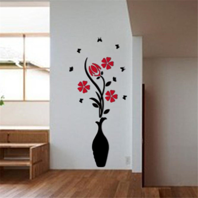 a10 diy vase flower tree crystal arcylic 3d wall stickers decal home