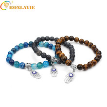 2017 New Blue Turkish Evil Eye Hamsa Hand Bracelets Elastic Nutural Stone Bead Charm Bangle For Women Jewelry Pulseras Fatima(China)