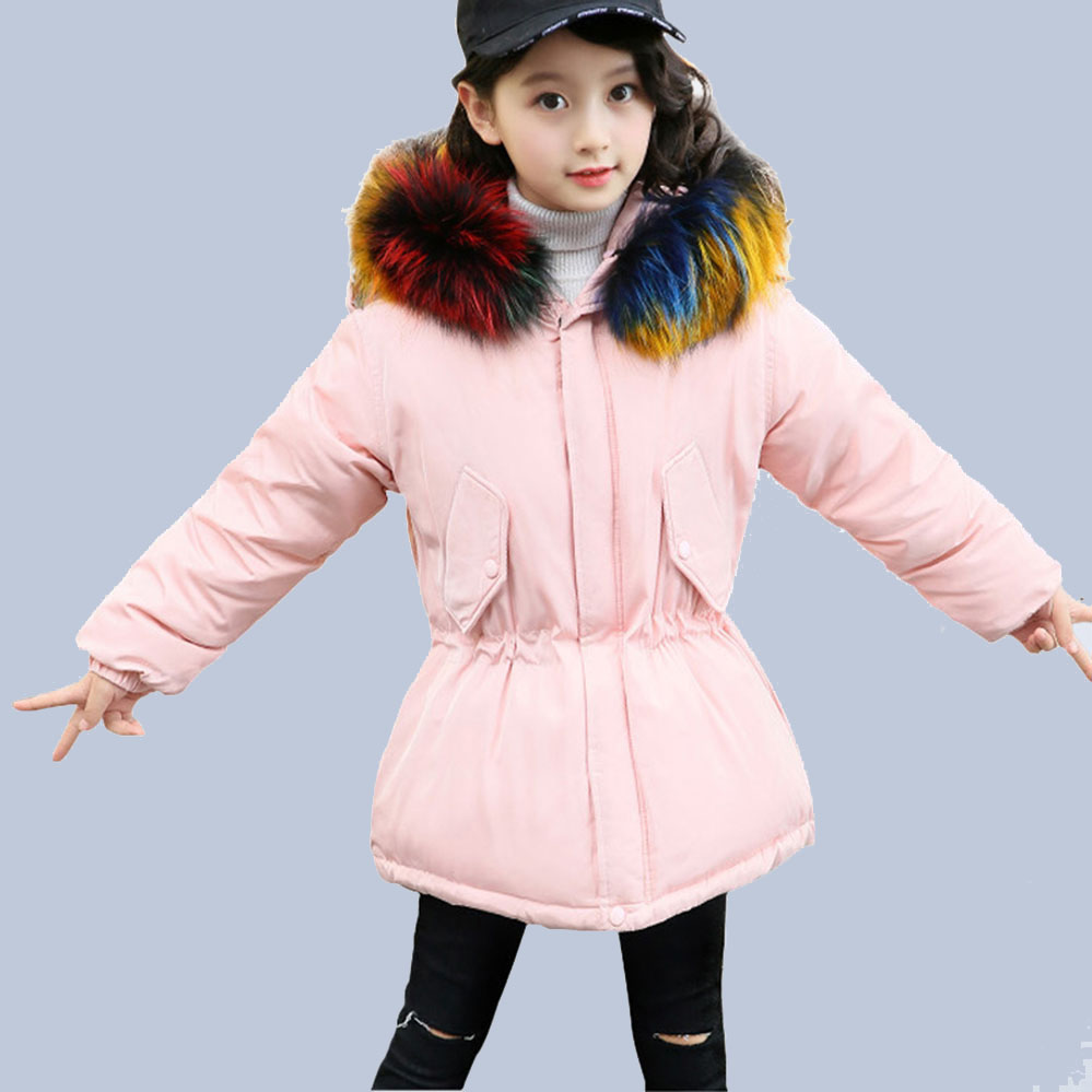 Children Winter Down Jackets For Girls 6 8 10 12 14 Years Old Corlorful Fur Hooded Thick Girls Coat -30 Degree Winter Casual princess girls winter coat long duck down thick faux fur hooded winter jacket for kids girls age 6 8 10 12 14 years old