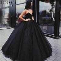 JaneVini 2019 Элегантный Вечерние платья Длинные без бретелек органза бальное платье пол длина плюс размеры Черное вечернее платье халат De Soiree