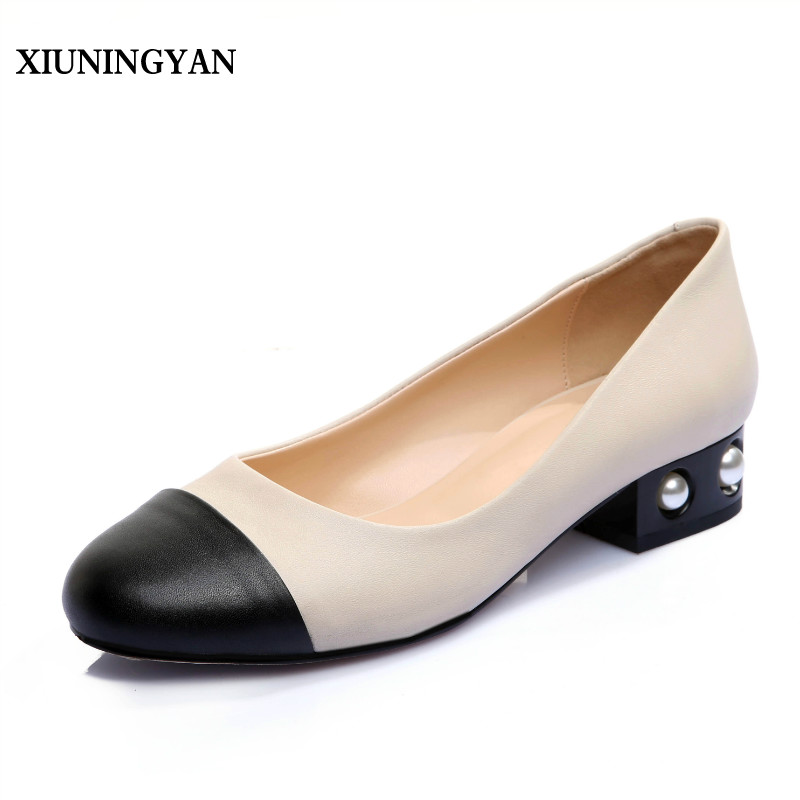 XIUNINGYAN Fashion Pear Pearl Womens High Heel Shoes Women 2018 Flats Lady Slip on Round Toe Low Heel Work Shoes Big Size 33-43