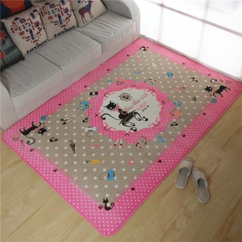 pink 130x185cm coral velvet carpets for living room children bedroom rugs cat carpets unique cartoon area