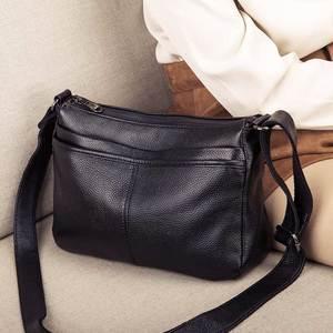 Женская сумка-мессенджер, из натуральной кожи