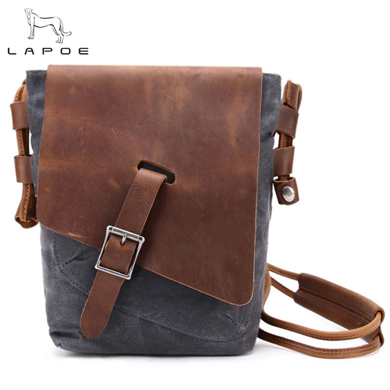 LAPOE New Vintage Crossbody Bag Military Canvas Leather Shoulder Bags Men Messenger Bag Men Leather Briefcase Travel Leisure Bag augur fashion men s shoulder bag canvas leather belt vintage military male small messenger bag casual travel crossbody bags