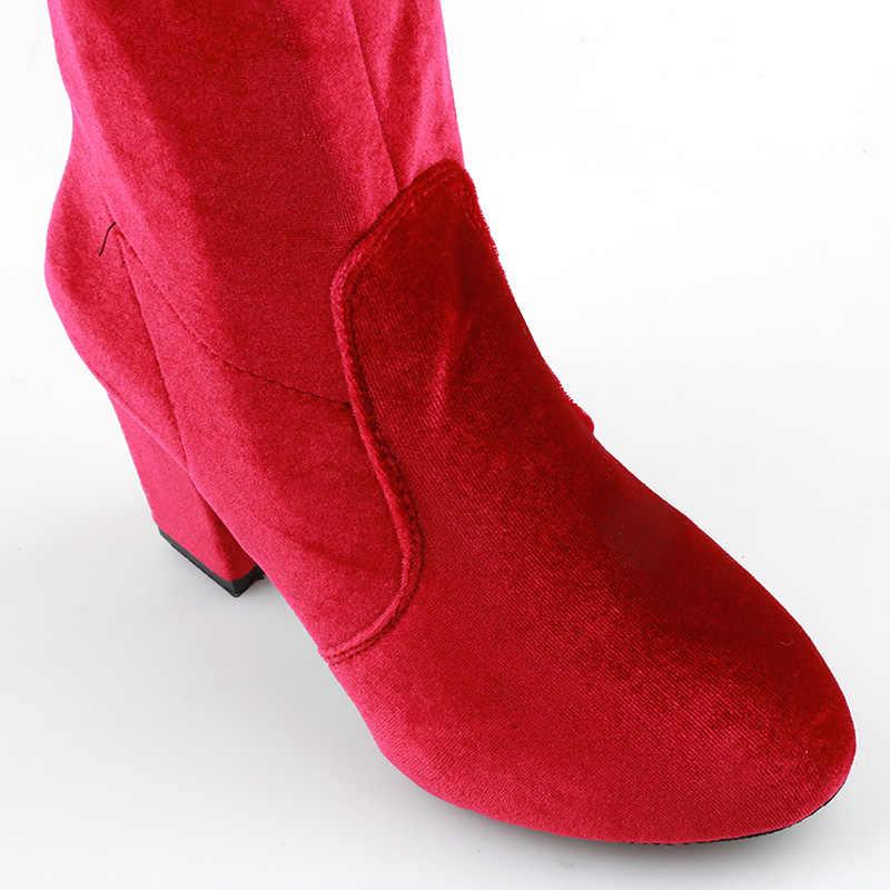 HENGSONG nouveau carré talons hauts Slim femme sur le genou bottes femmes moto botte grande taille femmes cuissardes bottes chaussures