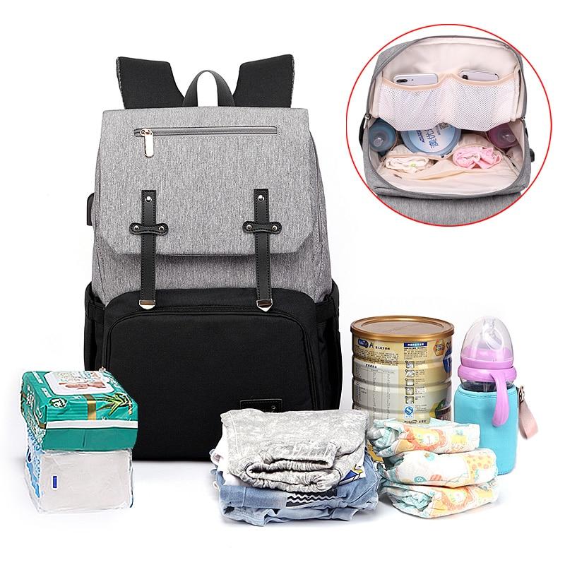 HTB1gX7EaJfvK1RjSspoq6zfNpXa6 Diaper Bag Mummy Daddy Backpack Baby Stroller Bag Waterproof Oxford Handbag Nursing Nappy Kits Maternity Bag USB Warmer Holder