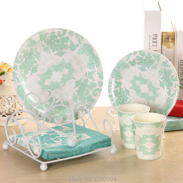 50 Sets Wedding Party Tiffany Blue Tableware Decor Favor Paper Plates Cups Napkins