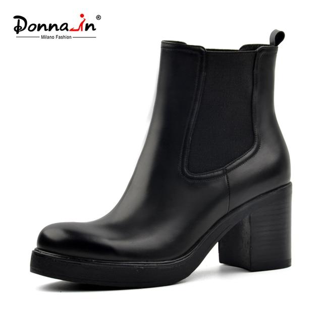ドナ女性本革雪のブーツの自然ウールの毛皮のインソール冬ブーツブーティプラットフォームの靴ハイヒールチェルシー足首ブーツ