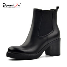 Donna-in frauen aus echtem leder schnee stiefel natürliche wolle pelz einlegesohle winter booties plattform schuhe high heels Chelsea ankle stiefel(China)