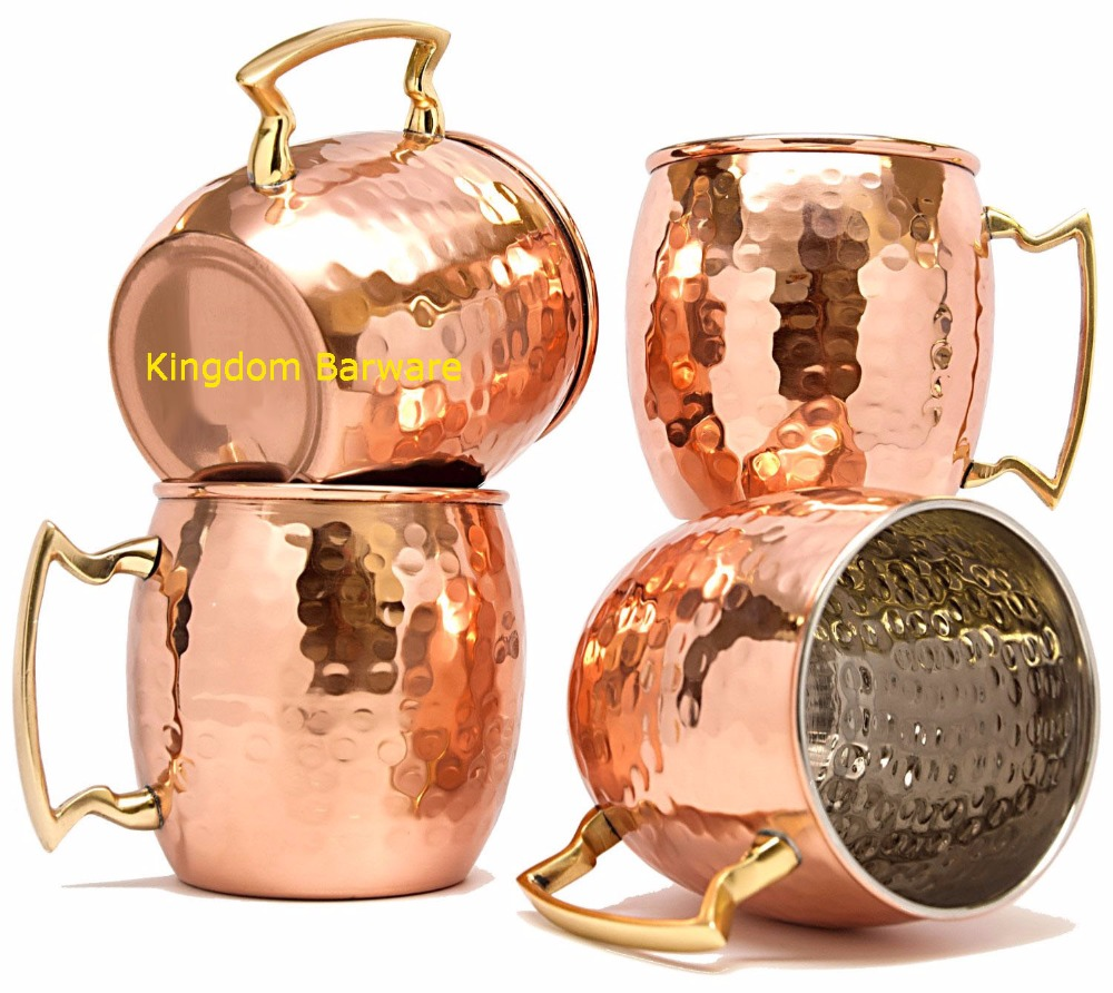 kingdom barware 4 PCS Copper Moscow Mug Coffee Beer Cup Set