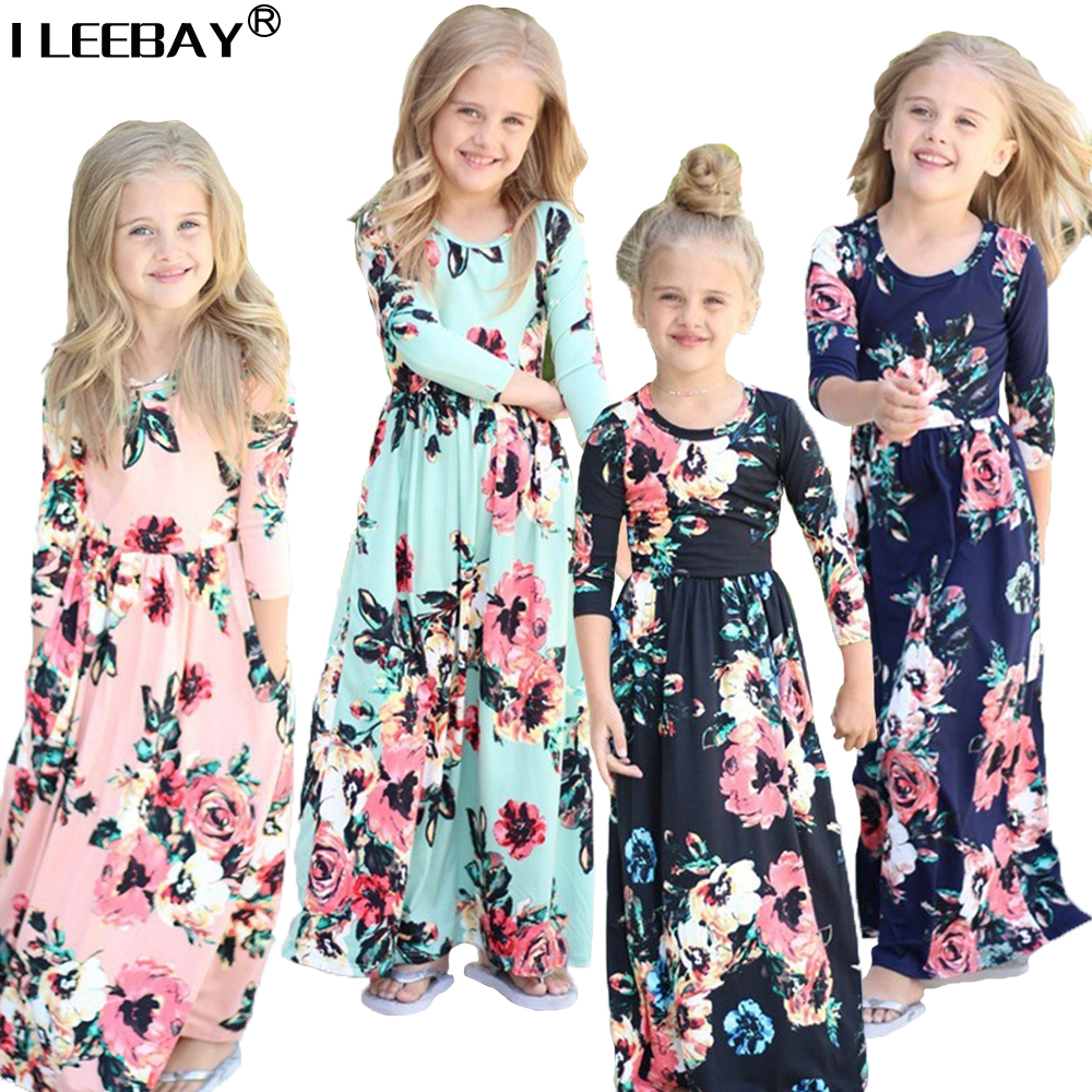 Long Cotton Dresses for Girls Children Floral Ankle Length Costume Girl Pleated Dress Baby Full Sleeve Printed Clothes for 1-8T pocket full length tee dress page 8