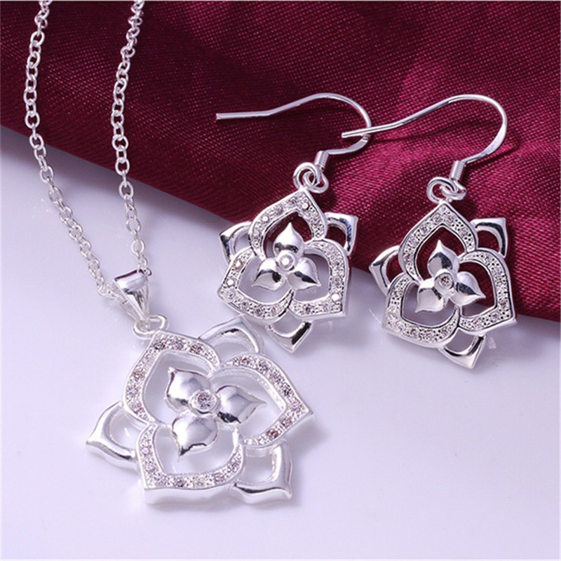 S687 New Fashion Fancy Style silver plated noble crystal CZ Zircon stone Jewelry Set For Women