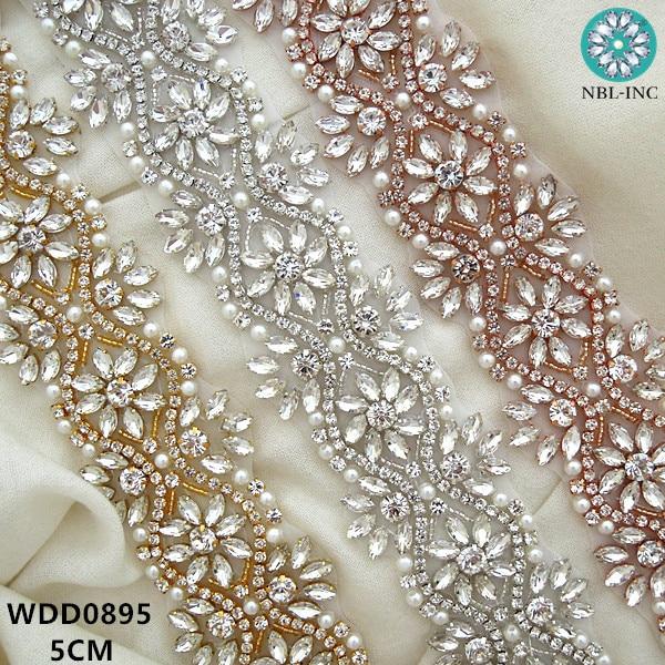 (1 YARD) Bridal beaded Rhinestone crystal applique trim gold iron on for wedding  dresses 49061e554cc5