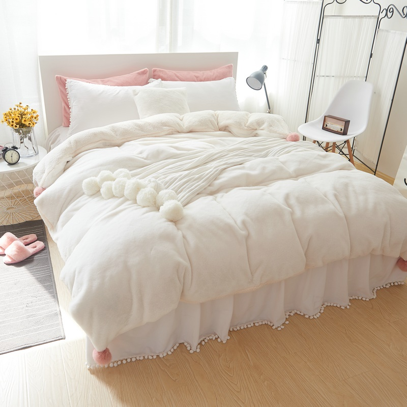 thick fleece white pink gray girls bedding set king queen full twin bed skirt duvet cover set. Black Bedroom Furniture Sets. Home Design Ideas