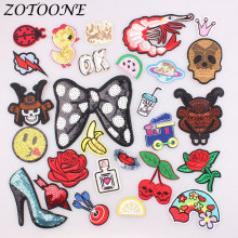 ZOTOONE 1pcs Skull Rose Space Letter Patch Embroidered Iron on for Clothing Rainbow DIY Stripes Clothes Sticker Appliques