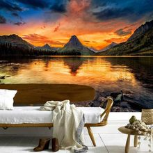 Custom Any Size 3D Mural Wallpaper Mountains Sunrises And Sunsets Scenery Wallpaper Living Room Wall Decor Bedroom Wall Paper(China)