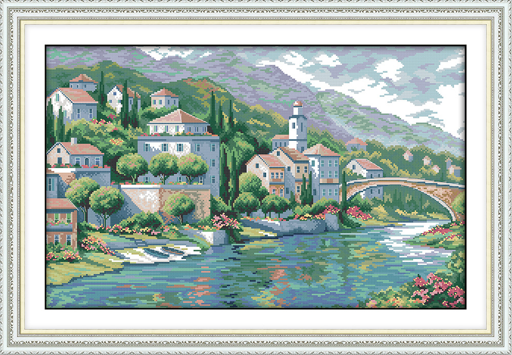 Joy Sunday The peaceful River town DMC Counted Chinese Cross Stitch Kits printed Cross-stitch set Embroidery Needlework