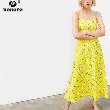 ROHOPO Women Strap Pleated Yellow Midi Dress Summer Printed Daisy Flrare Hem Draped Dress High Waist Cute Vestido #AZ9405 недорого