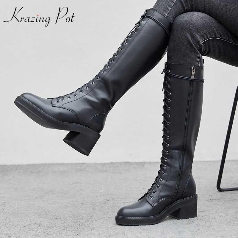 Krazing Pot yeni hakiki deri yuvarlak ayak çapraz bağlı binici çizmeleri kalın yüksek topuklu gladyatör kadın sıcak tutmak diz yüksek çizmeler L97