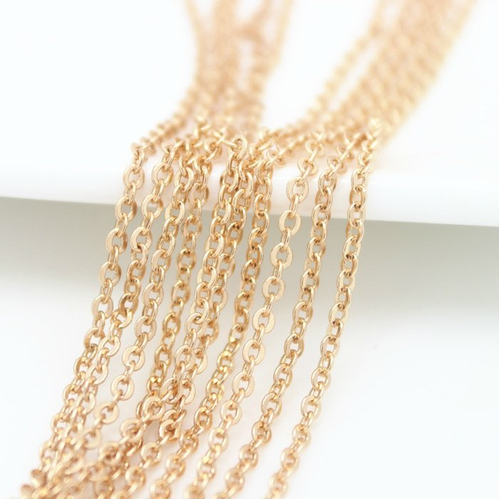 2Meter Width:1.5MM 2MM 24K Champagne Gold Color Plated Brass Flat Oval Chains Necklace Chains High Quality Jewelry Accessories