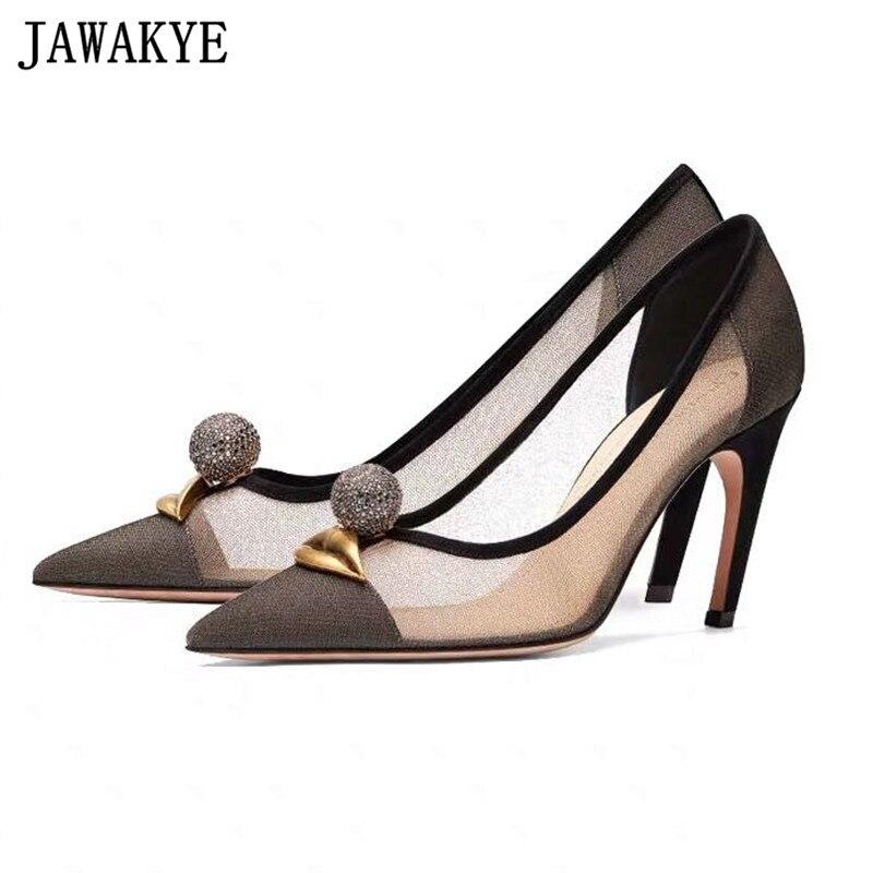 Summer air mesh dress pumps pointed toe high heels stilettos 2019 runway design pointed toe metal
