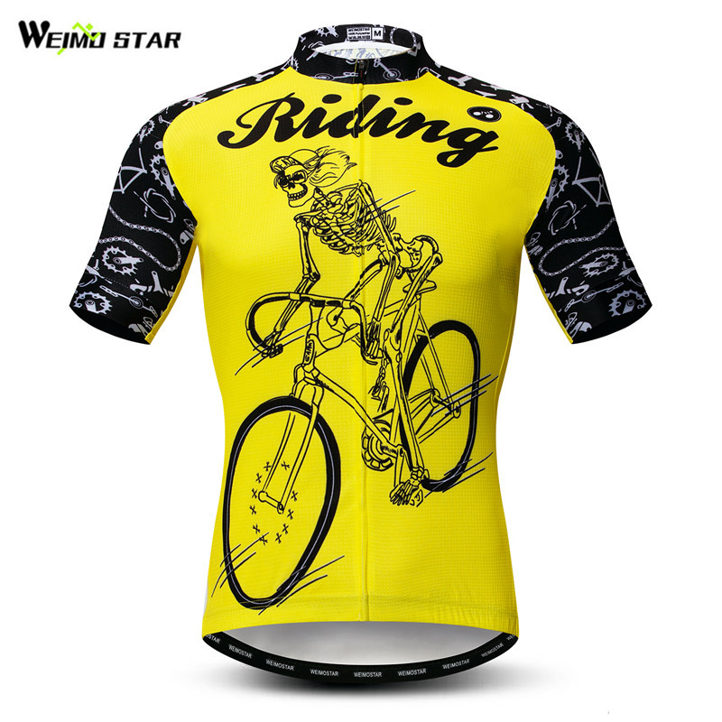 Weimostar Yellow Skull Cycling Jersey Summer Riding Bicycle Shirt Mountain Bike Jersey Maillot Cicismo Wicking Team Cycling Wear